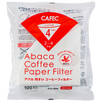 CAFEC Paper Filter Abaca cone 4-cup 100pcs wht AC4-100W