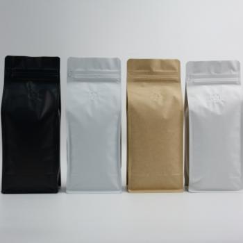 Coffee Bag Box Bottom valve & zipper 500g kraft 100pcs
