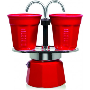BIALETTI Mokapot Set Mini Express & cups 2-cup red